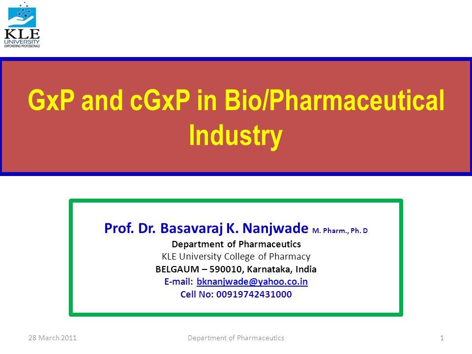 cGxP 28 March 2011Department of Pharmaceutics112
