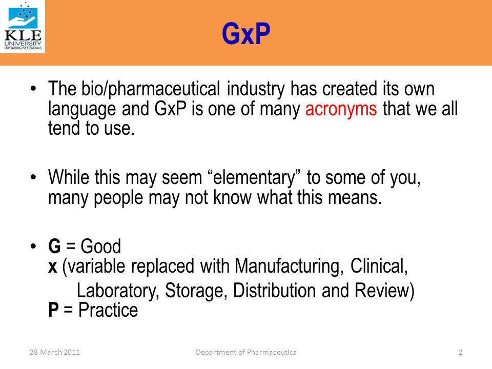 GSP – (Good Storage Practice) 1.Glossary 2.Personnel 3.Premises and facilities 4.Storage requirements 5.Returned goods 6.Dispatch and transport 7.Product recall 83Department of Pharmaceutics28 March 2011