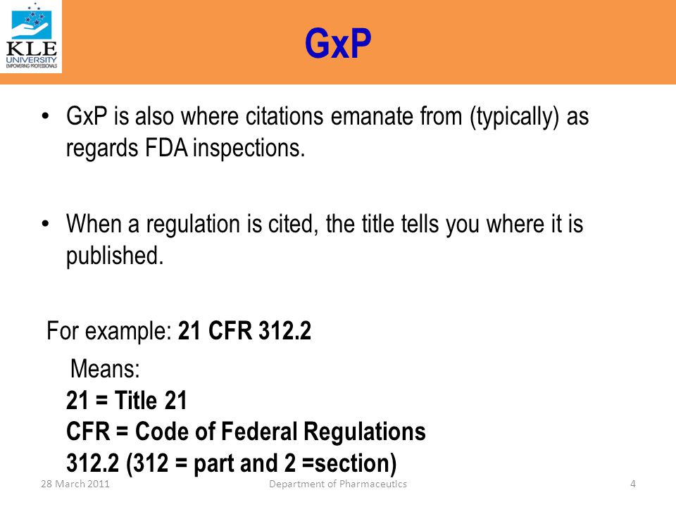 GDP – (Good Distribution practice) 1.Principle 2.Personnel 3.Documentation 4.Premises and equipment 5.Deliveries to customers 6.Returns 7.Self inspection 8.Provision of information to Member States in relation to wholesale activities 28 March 2011Department of Pharmaceutics95