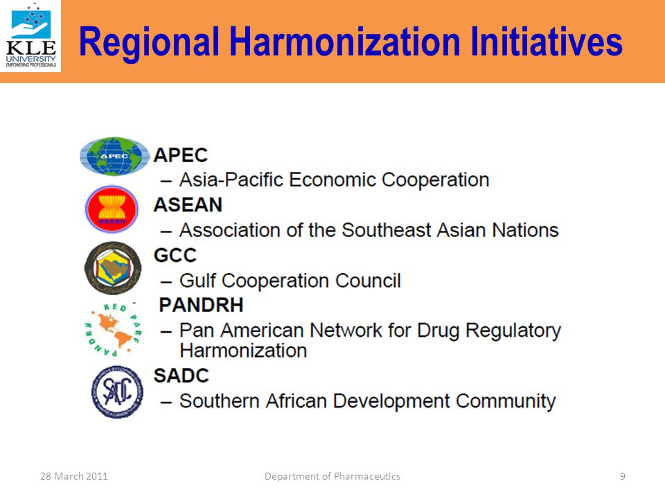 Regional Harmonization Initiatives 9Department of Pharmaceutics28 March 2011