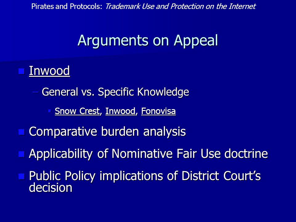 Arguments on Appeal Inwood Inwood –General vs. Specific Knowledge  Snow Crest, Inwood, Fonovisa Comparative burden analysis Comparative burden analys