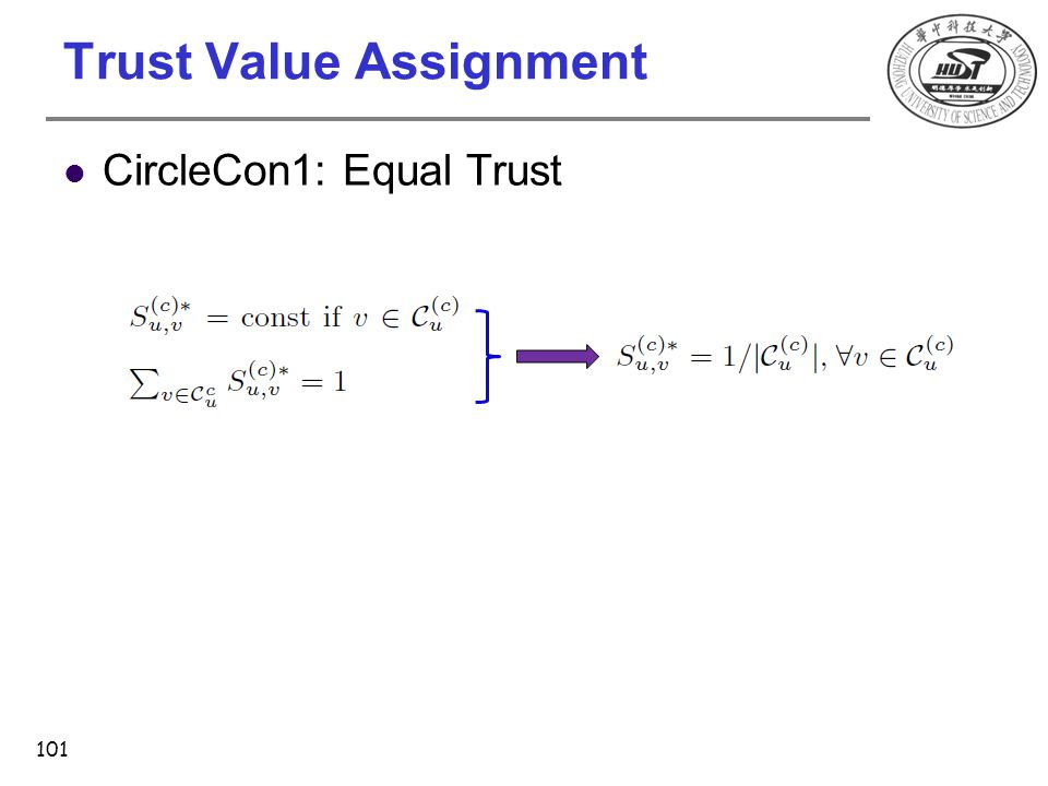 Trust Value Assignment CircleCon1: Equal Trust 101