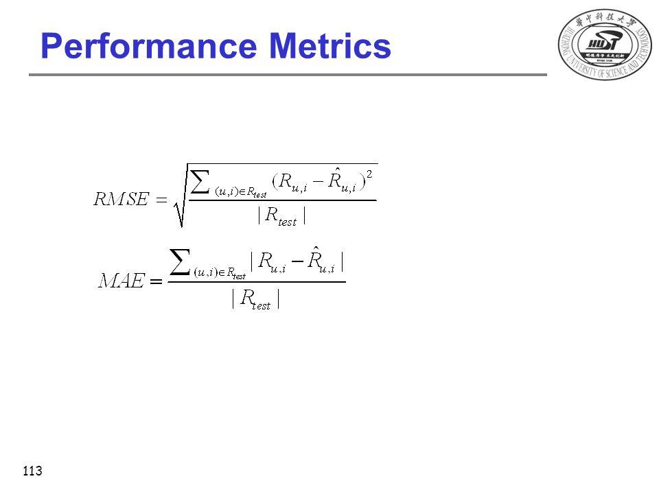 Performance Metrics 113