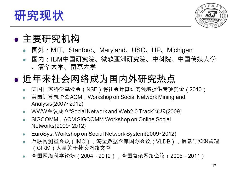 研究现状 主要研究机构 国外: MIT 、 Stanford 、 Maryland 、 USC 、 HP 、 Michigan 国内: IBM 中国研究院、微软亚洲研究院、中科院、中国传媒大学 、清华大学、南京大学 近年来社会网络成为国内外研究热点 美国国家科学基金会( NSF )将社会计算研究领域提供专项资金( 2010 ) 美国计算机协会 ACM , Workshop on Social Network Mining and Analysis(2007~2012) WWW 会议成立 Social Network and Web2.0 Track 论坛 (2009) SIGCOMM , ACM SIGCOMM Workshop on Online Social Networks(2009~2012) EuroSys, Workshop on Social Network System(2009~2012) 互联网测量会议( IMC ),海量数据仓库国际会议( VLDB ),信息与知识管理 ( CIKM )大量关于社交网络文章 全国网络科学论坛( 2004 ~ 2012 ),全国复杂网络会议( 2005 ~ 2011 ) 17