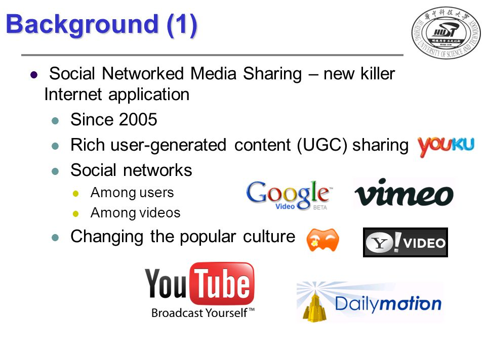 Background (1) Social Networked Media Sharing – new killer Internet application Since 2005 Rich user-generated content (UGC) sharing Social networks A
