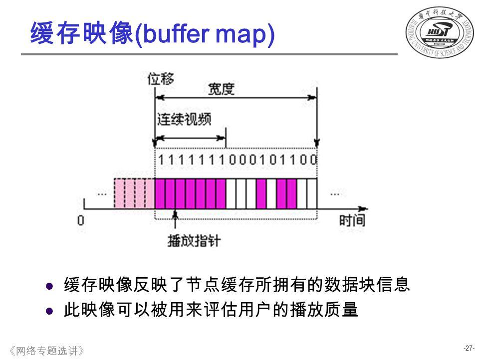 缓存映像 (buffer map) 缓存映像反映了节点缓存所拥有的数据块信息 此映像可以被用来评估用户的播放质量 -27- 《网络专题选讲》