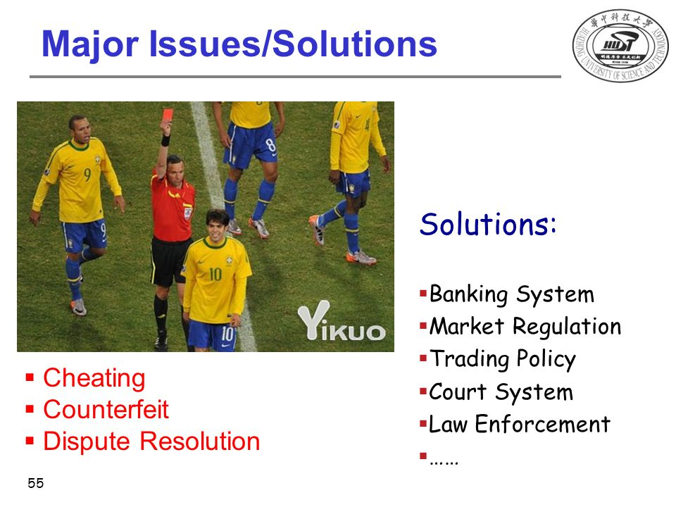 Major Issues/Solutions  Cheating  Counterfeit  Dispute Resolution Solutions:  Banking System  Market Regulation  Trading Policy  Court System 
