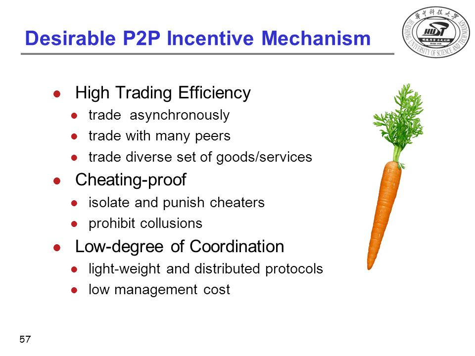 Desirable P2P Incentive Mechanism High Trading Efficiency trade asynchronously trade with many peers trade diverse set of goods/services Cheating-proo
