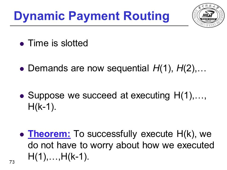 Dynamic Payment Routing Time is slotted Demands are now sequential H(1), H(2),… Suppose we succeed at executing H(1),…, H(k-1). Theorem: To successful
