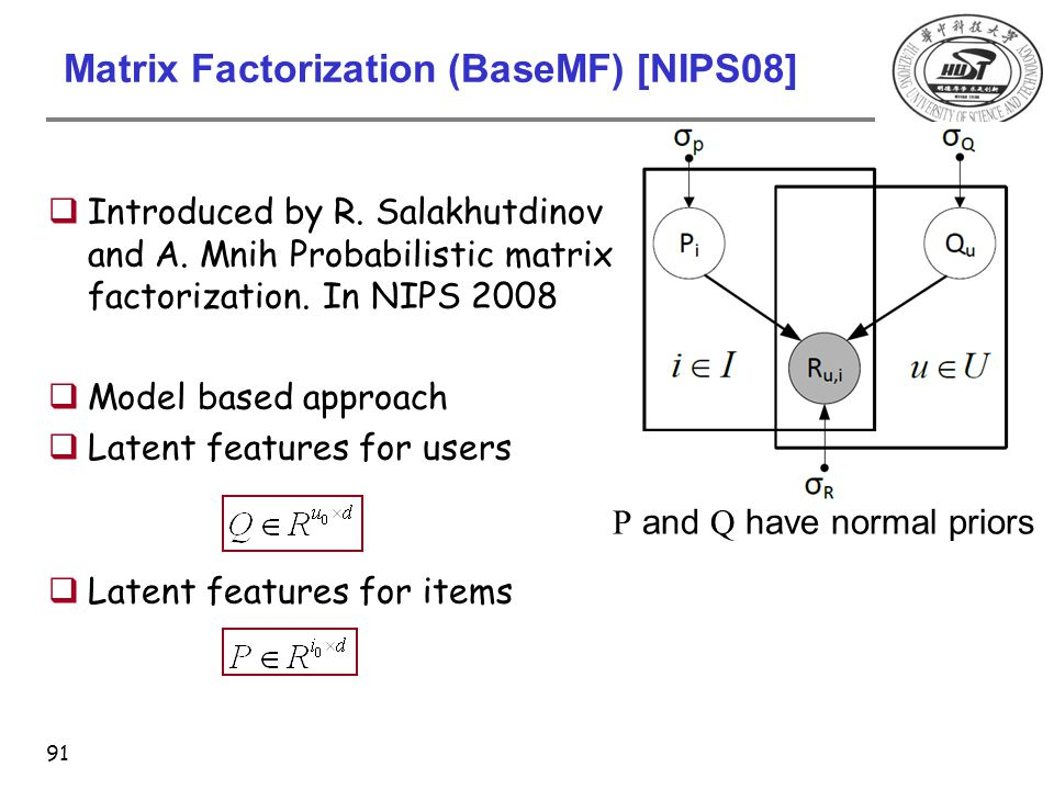 Matrix Factorization (BaseMF) [NIPS08] 91  Introduced by R. Salakhutdinov and A. Mnih Probabilistic matrix factorization. In NIPS 2008  Model based