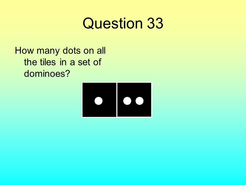 Question 33 How many dots on all the tiles in a set of dominoes?