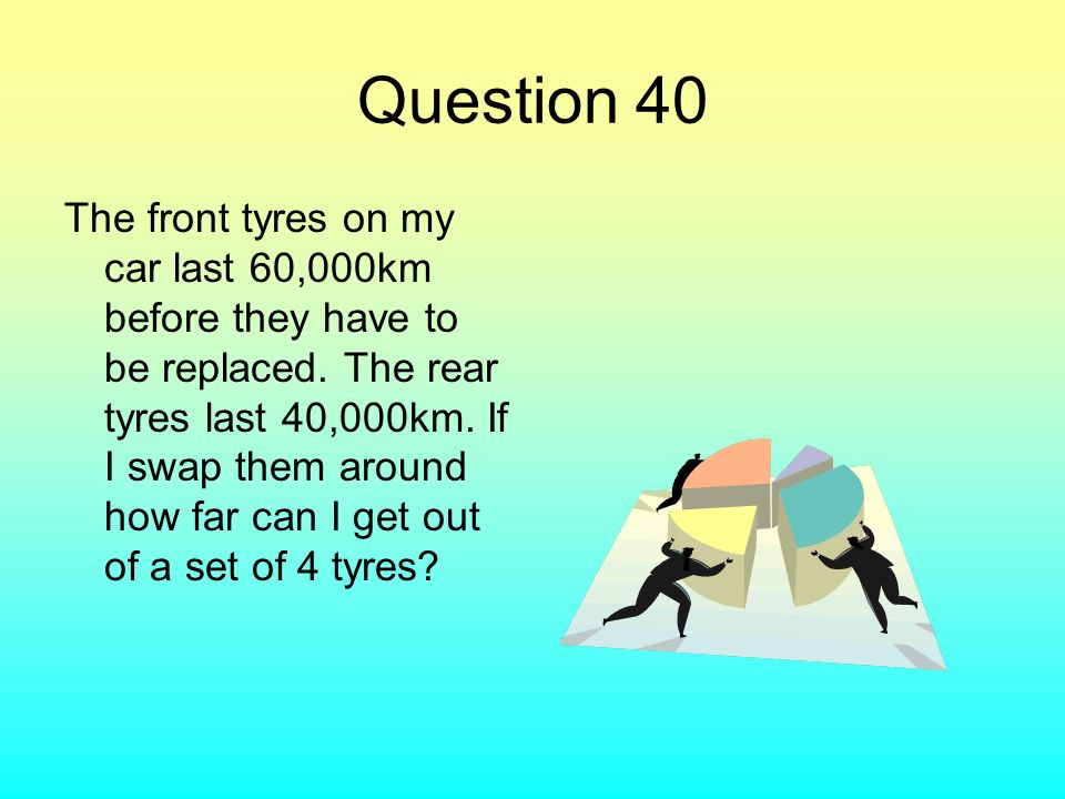 Question 40 The front tyres on my car last 60,000km before they have to be replaced. The rear tyres last 40,000km. If I swap them around how far can I