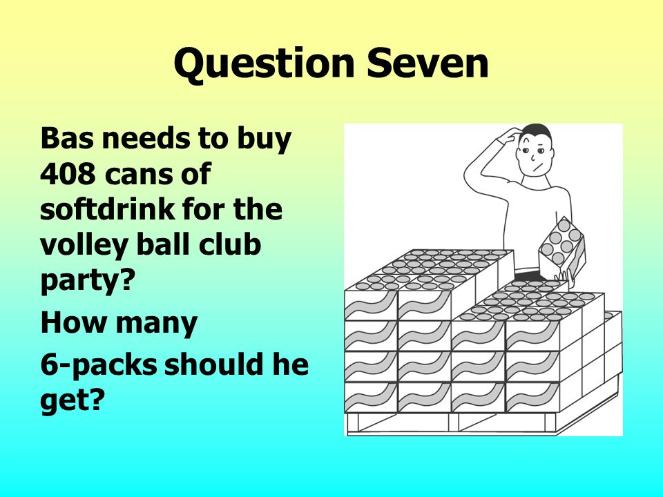Question Seven Bas needs to buy 408 cans of softdrink for the volley ball club party.