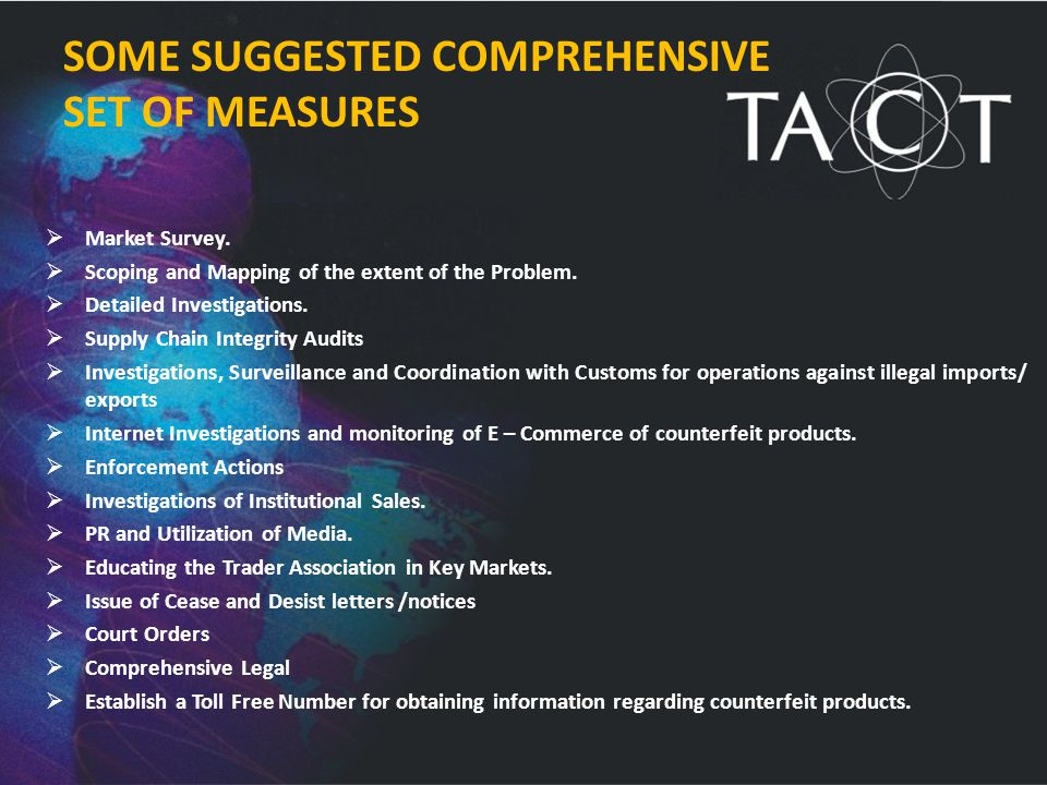 SOME SUGGESTED COMPREHENSIVE SET OF MEASURES  Market Survey.