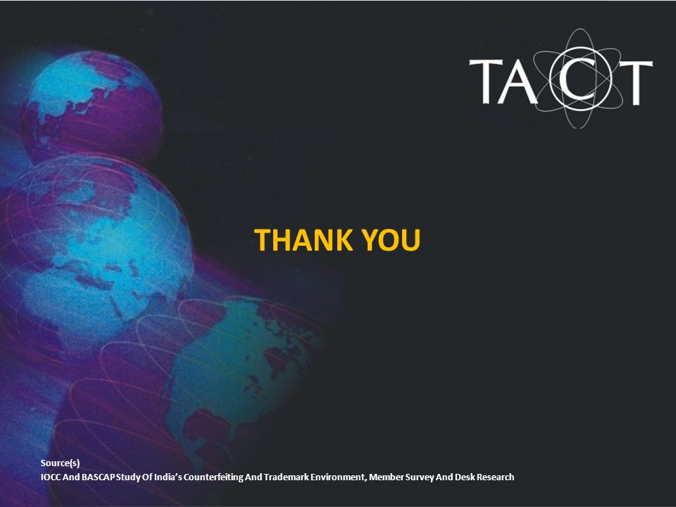 THANK YOU Source(s) IOCC And BASCAP Study Of India's Counterfeiting And Trademark Environment, Member Survey And Desk Research