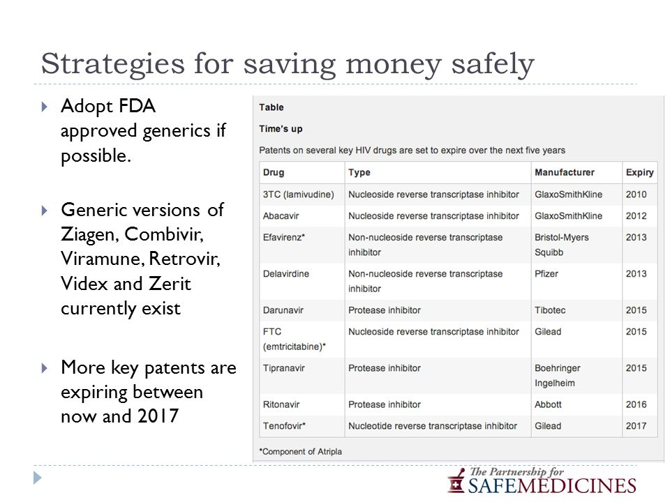 Strategies for saving money safely  Adopt FDA approved generics if possible.