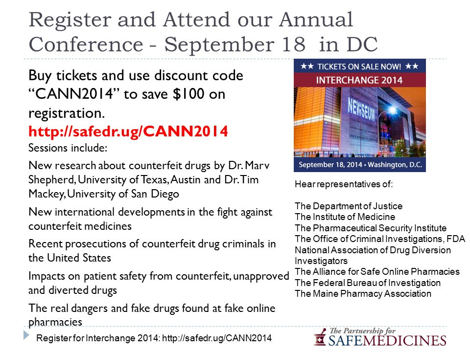 Register and Attend our Annual Conference - September 18 in DC Buy tickets and use discount code CANN2014 to save $100 on registration.