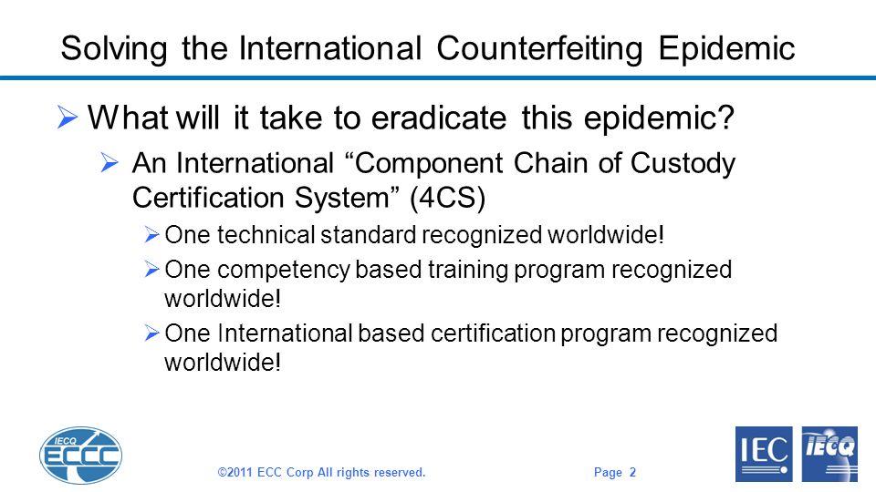 Solving the International Counterfeiting Epidemic  What will it take to eradicate this epidemic.