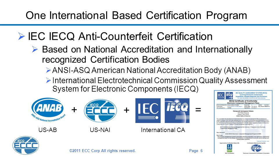 One International Based Certification Program  IEC IECQ Anti-Counterfeit Certification  Based on National Accreditation and Internationally recognized Certification Bodies  ANSI-ASQ American National Accreditation Body (ANAB)  International Electrotechnical Commission Quality Assessment System for Electronic Components (IECQ) ©2011 ECC Corp All rights reserved.