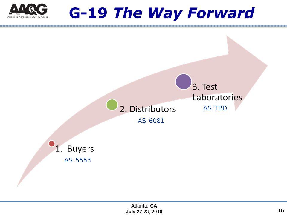 Atlanta, GA July 22-23, 2010 G-19 The Way Forward 16 AS 5553 AS 6081 AS TBD