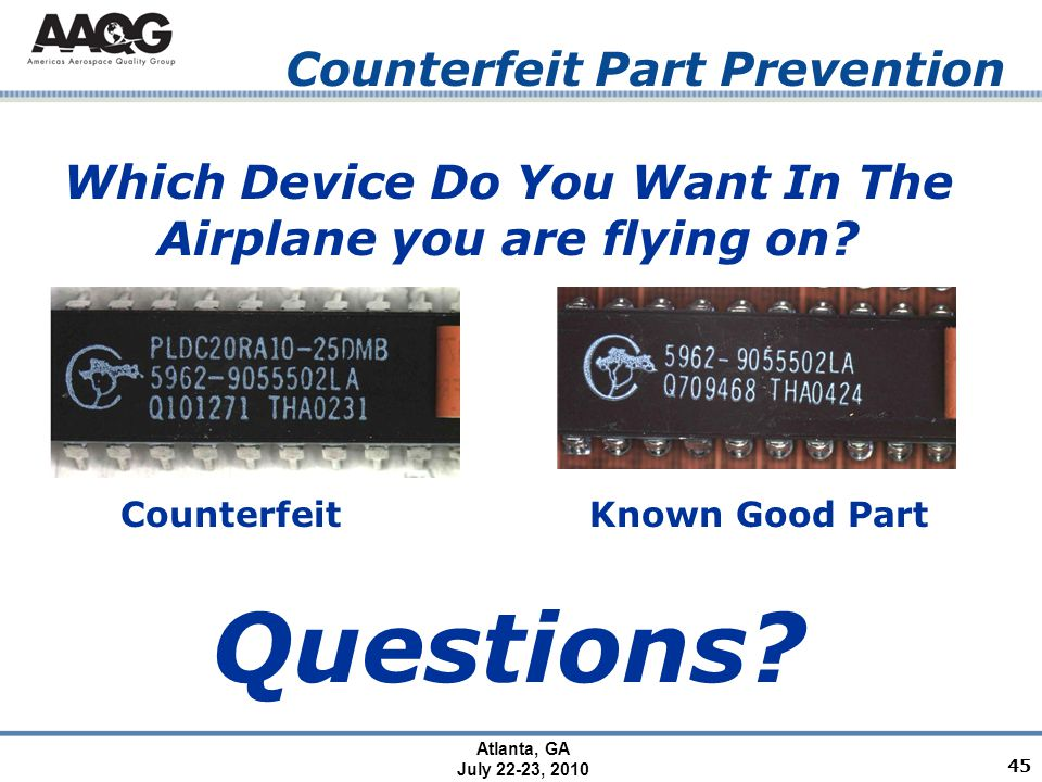 Atlanta, GA July 22-23, 2010 Counterfeit Part Prevention CounterfeitKnown Good Part Which Device Do You Want In The Airplane you are flying on.