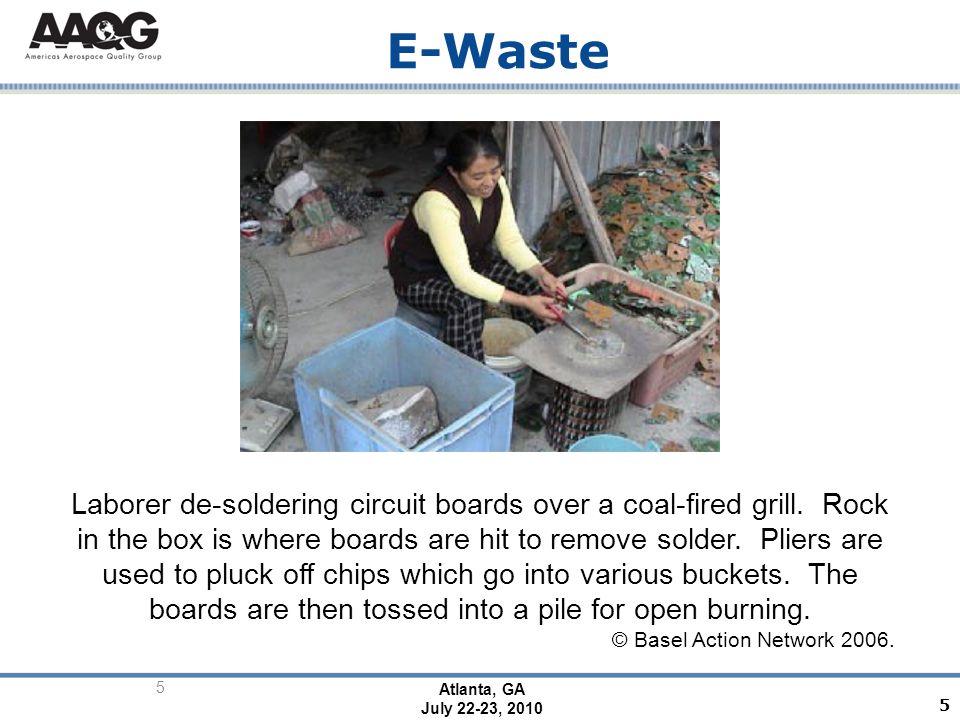 Atlanta, GA July 22-23, 2010 5 E-Waste Laborer de-soldering circuit boards over a coal-fired grill.