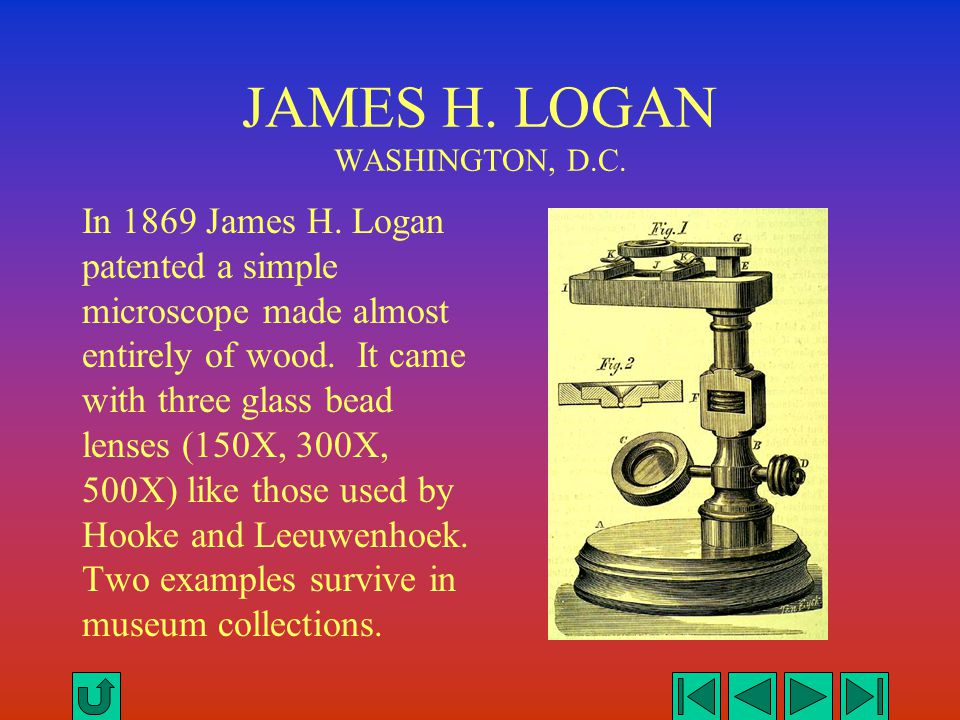 JAMES H. LOGAN WASHINGTON, D.C. In 1869 James H. Logan patented a simple microscope made almost entirely of wood. It came with three glass bead lenses