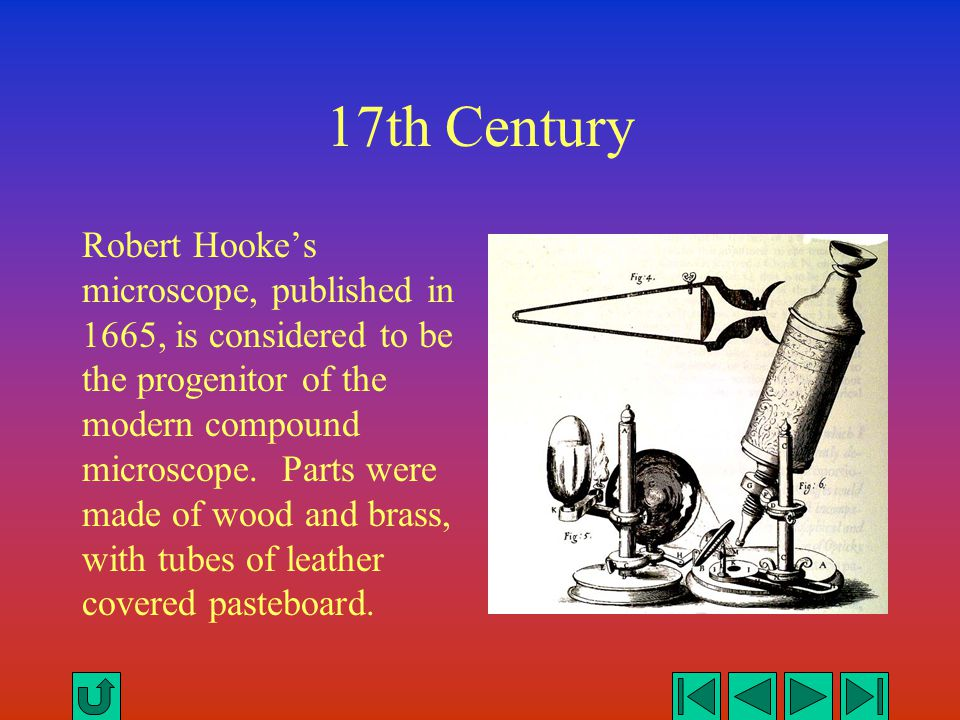 17th Century Robert Hooke's microscope, published in 1665, is considered to be the progenitor of the modern compound microscope. Parts were made of wo