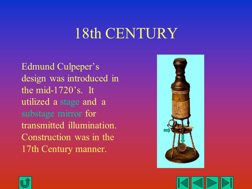18th CENTURY Edmund Culpeper's design was introduced in the mid-1720's. It utilized a stage and a substage mirror for transmitted illumination. Constr