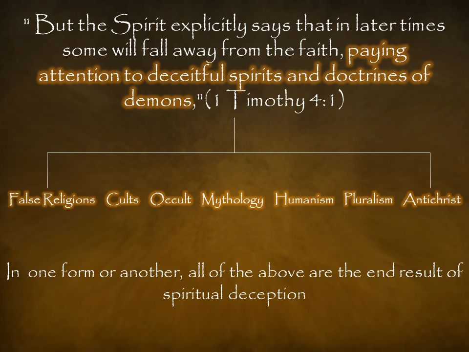 In one form or another, all of the above are the end result of spiritual deception