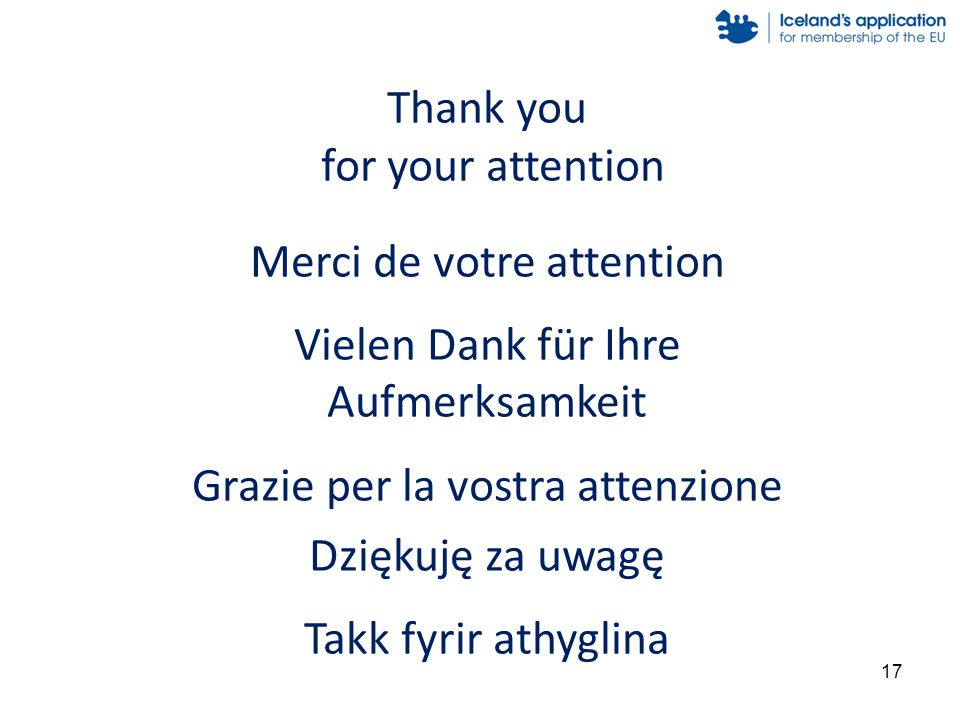 Thank you for your attention Merci de votre attention Vielen Dank für Ihre Aufmerksamkeit Grazie per la vostra attenzione Dziękuję za uwagę Takk fyrir athyglina 17