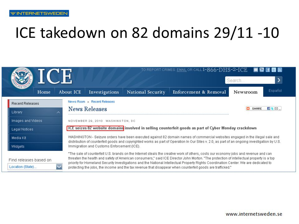 ICE takedown on 82 domains 29/11 -10