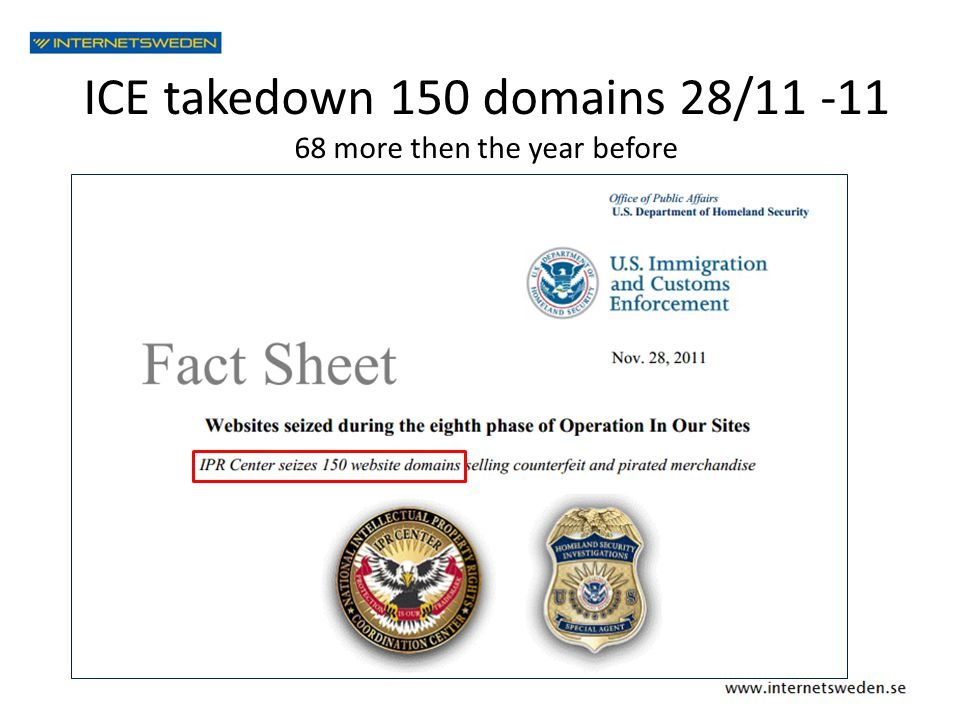 ICE takedown 150 domains 28/11 -11 68 more then the year before