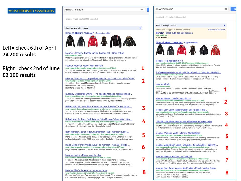 Left= check 6th of April 74 200 results Right= check 2nd of June 62 100 results