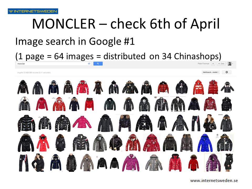 MONCLER – check 6th of April Image search in Google #1 (1 page = 64 images = distributed on 34 Chinashops)