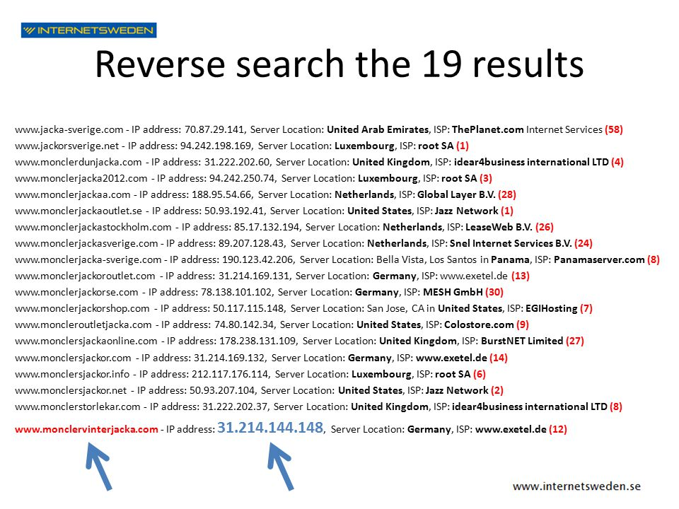 Reverse search the 19 results www.jacka-sverige.com - IP address: 70.87.29.141, Server Location: United Arab Emirates, ISP: ThePlanet.com Internet Ser