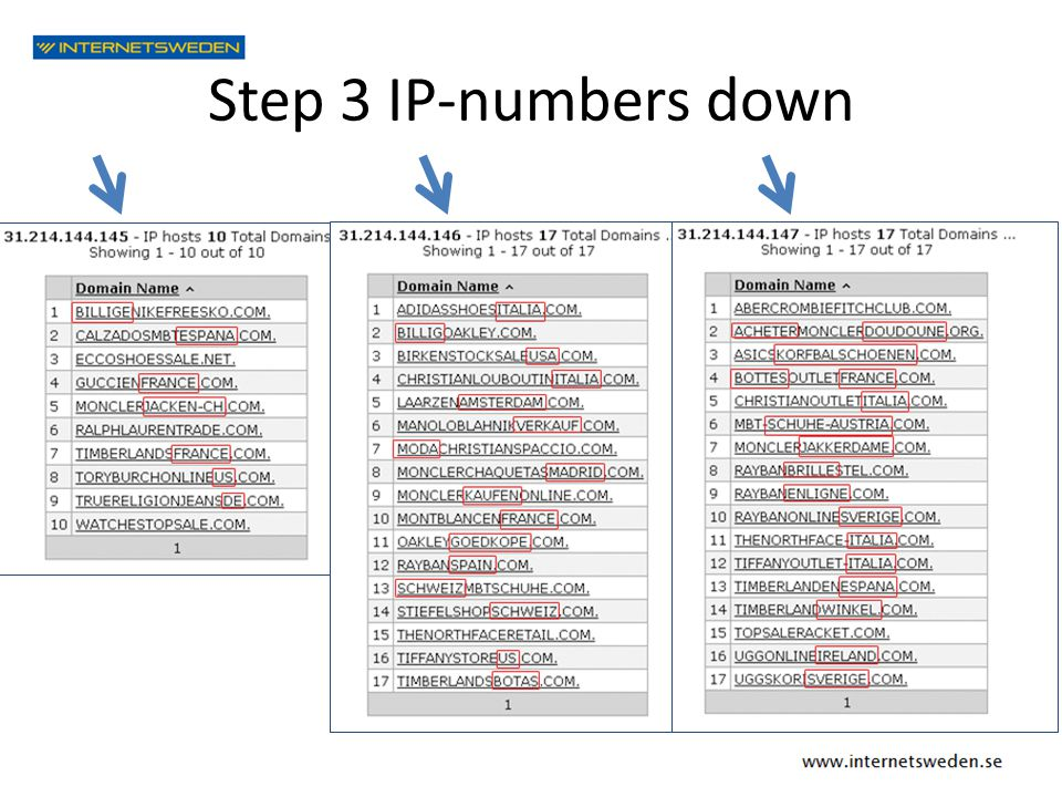 Step 3 IP-numbers down