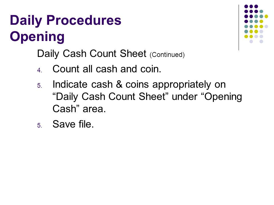 cash counting sheet