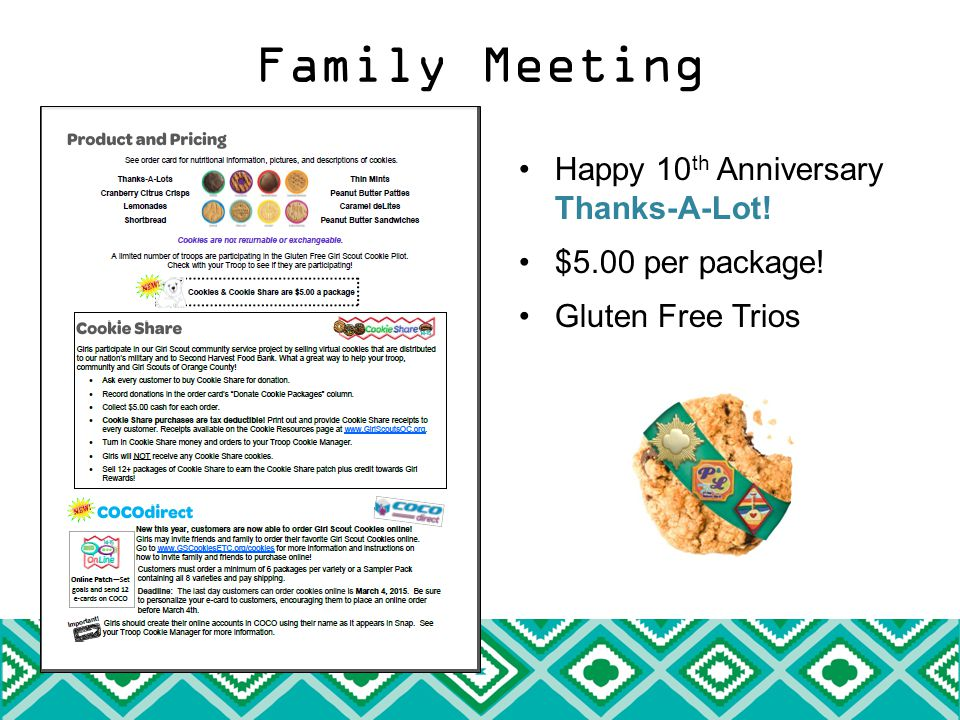 Happy 10 th Anniversary Thanks-A-Lot! $5.00 per package! Gluten Free Trios
