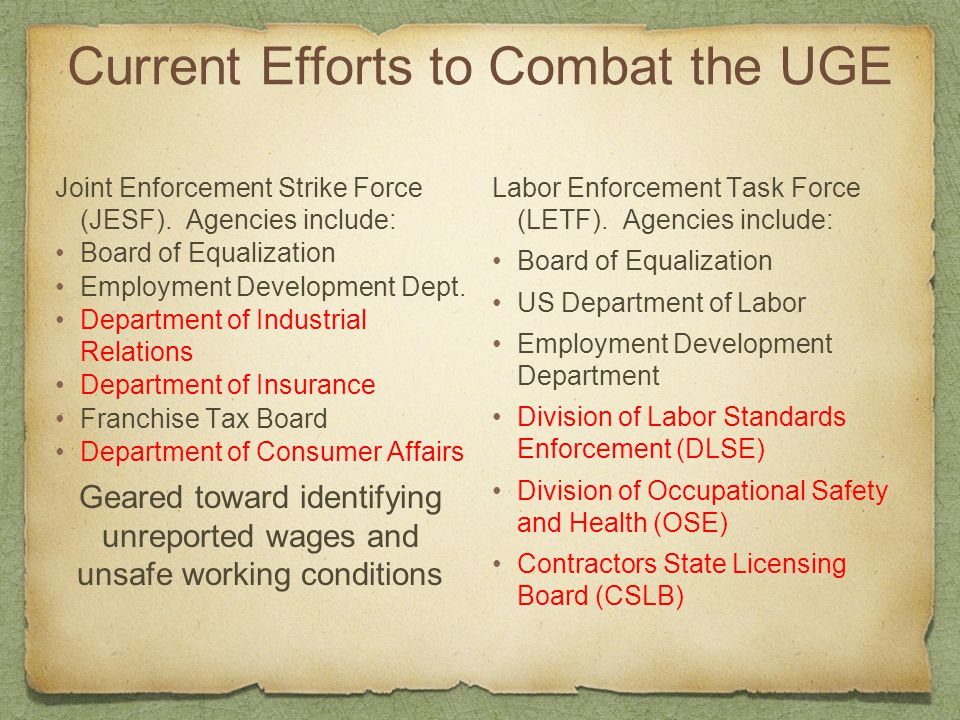 Current Efforts to Combat the UGE Joint Enforcement Strike Force (JESF). Agencies include: Board of Equalization Employment Development Dept. Departme