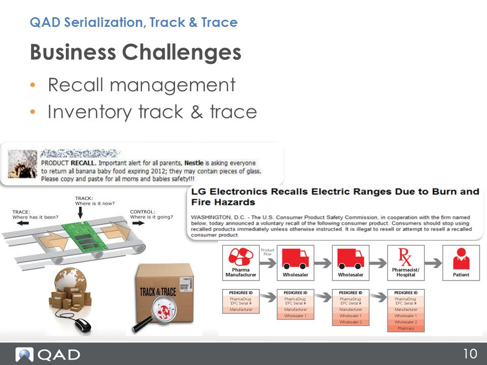 Business Challenges 10 Recall management Inventory track & trace QAD Serialization, Track & Trace
