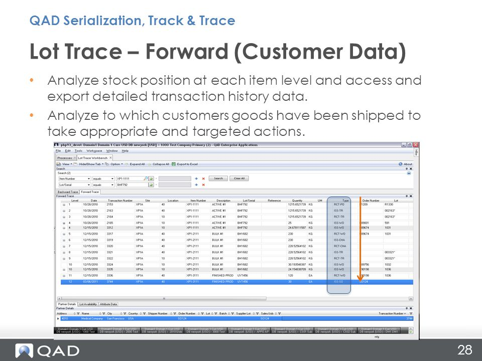 28 Lot Trace – Forward (Customer Data) Analyze stock position at each item level and access and export detailed transaction history data.