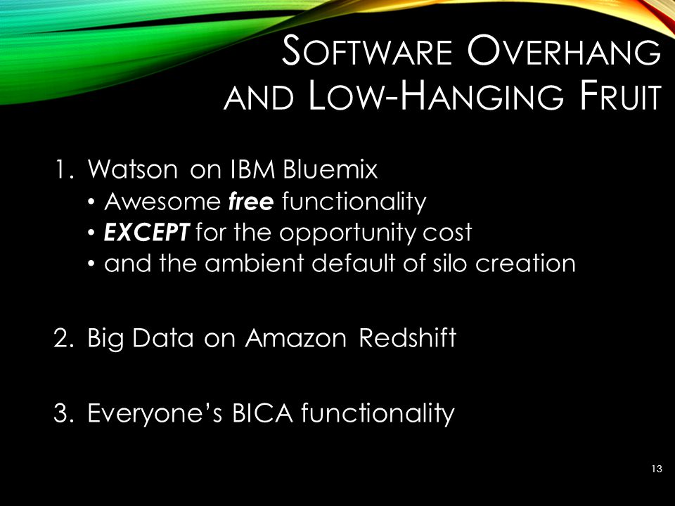 S OFTWARE O VERHANG AND L OW -H ANGING F RUIT 1.Watson on IBM Bluemix Awesome free functionality EXCEPT for the opportunity cost and the ambient defau