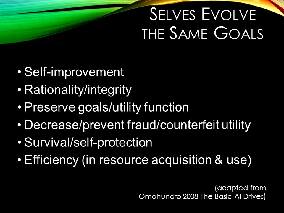 S ELVES E VOLVE THE S AME G OALS Self-improvement Rationality/integrity Preserve goals/utility function Decrease/prevent fraud/counterfeit utility Sur