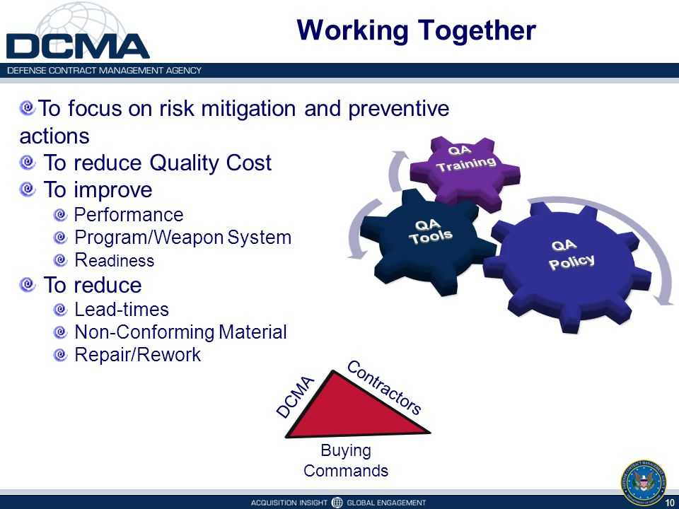 Working Together 10 To focus on risk mitigation and preventive actions To reduce Quality Cost To improve Performance Program/Weapon System R eadiness To reduce Lead-times Non-Conforming Material Repair/Rework Buying Commands DCMA Contractors