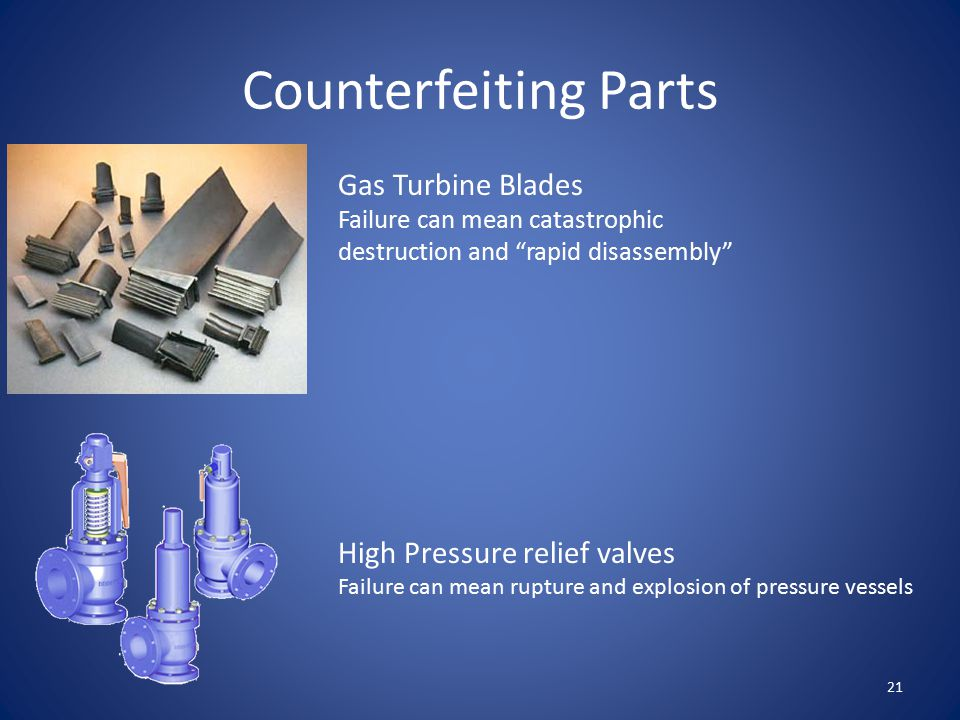 """Counterfeiting Parts Gas Turbine Blades Failure can mean catastrophic destruction and """"rapid disassembly"""" High Pressure relief valves Failure can mean"""