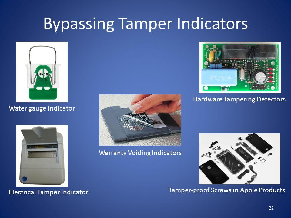 Bypassing Tamper Indicators 22 Water gauge Indicator Warranty Voiding Indicators Electrical Tamper Indicator Tamper-proof Screws in Apple Products Hardware Tampering Detectors