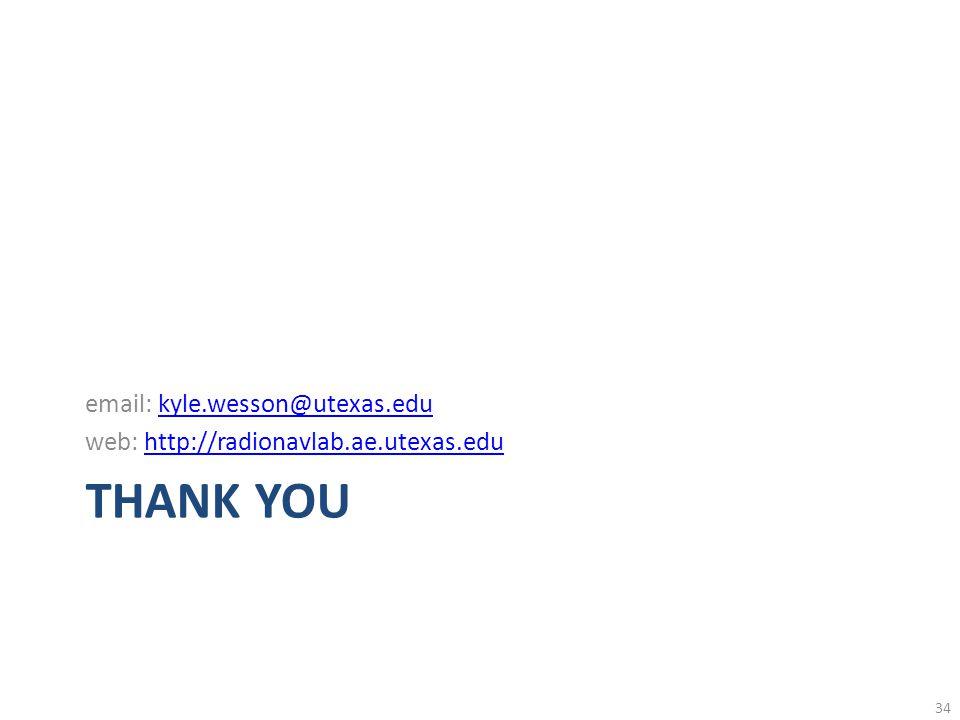 THANK YOU email: kyle.wesson@utexas.edukyle.wesson@utexas.edu web: http://radionavlab.ae.utexas.eduhttp://radionavlab.ae.utexas.edu 34