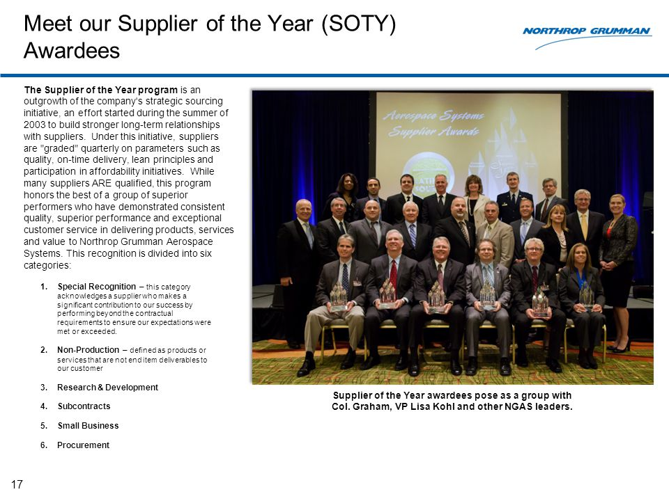 Meet our Supplier of the Year (SOTY) Awardees The Supplier of the Year program is an outgrowth of the company's strategic sourcing initiative, an effo