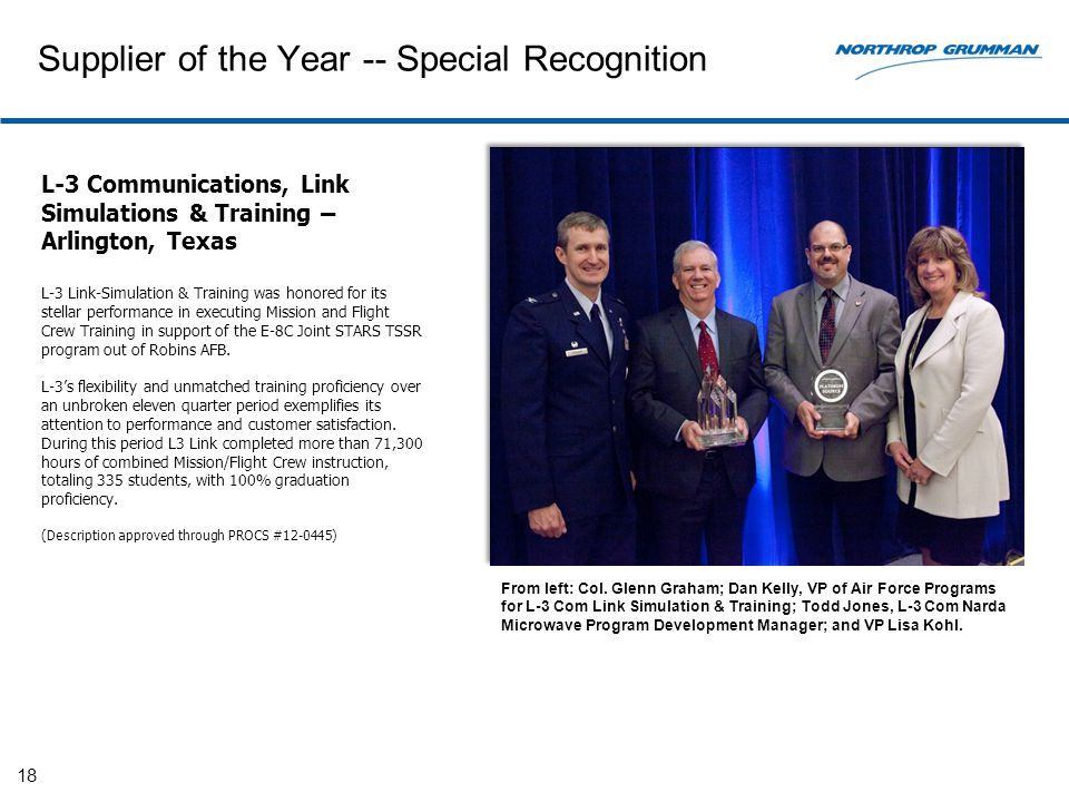 Supplier of the Year -- Special Recognition 18 L-3 Communications, Link Simulations & Training – Arlington, Texas L-3 Link-Simulation & Training was honored for its stellar performance in executing Mission and Flight Crew Training in support of the E-8C Joint STARS TSSR program out of Robins AFB.